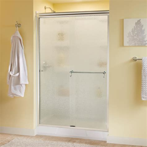 Rainx On Shower Doors Delta Portman 48 In X 70 In Semi Frameless Sliding Shower Door In Chrome With Glass