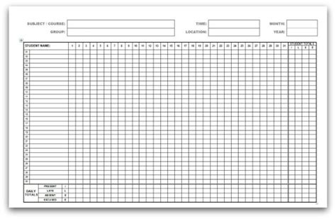 Monthly Attendance Forms Attendance Sheet Template