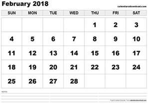 Calendar 2018 Feb February 2018 Calendar