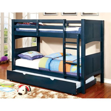 CM BK608T BL Kids Blue Twin over Twin Trundle Bunk Bed