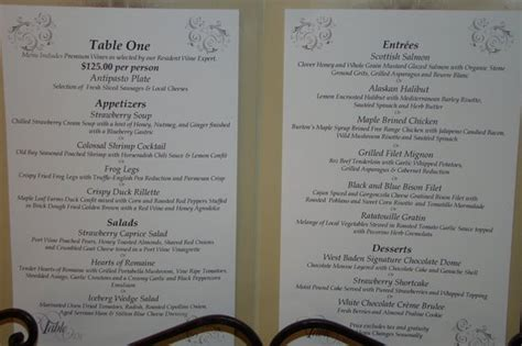 Table Menu Restaurant Menu For Table One Picture Of Sinclair S Restaurant