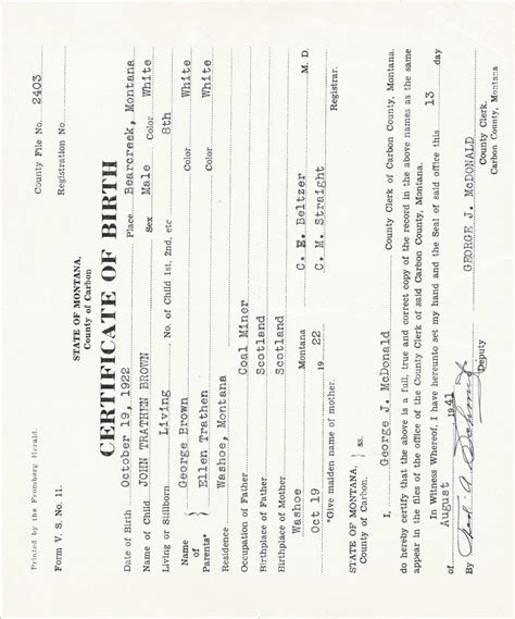 Montana Birth Records 7 Best Images Of American Birth Certificate Sle New