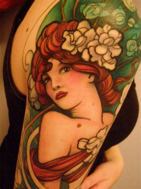 a stunning jeff gogue art deco tattoo of a pin up