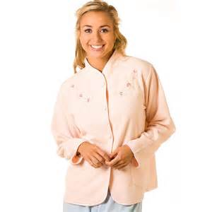 ladies camille peach embroidered fleece bed jacket womens
