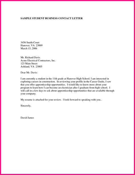 formal letter format for students 10 business letter sles for students