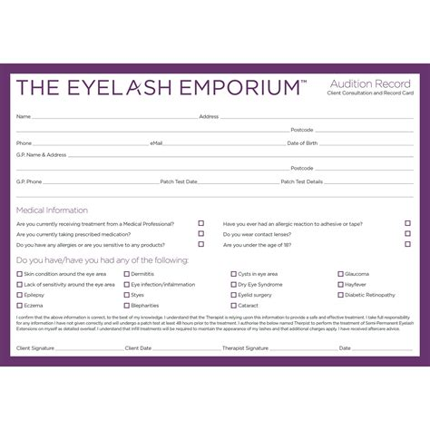 Consultation Cards Template by Record Consultation Cards For Eyelash Extension Clients
