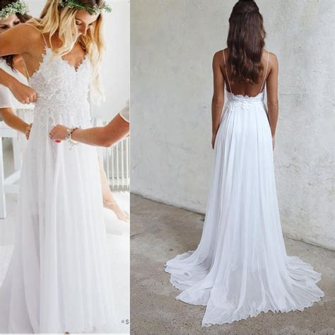 Spaghetti Straps Boho Wedding Dresses,Lace Summer Beach