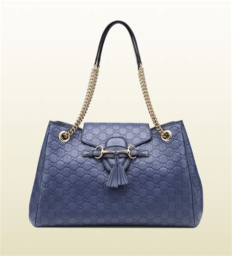 Gucci Ns Leather Blue lyst gucci emily ssima leather shoulder bag in blue