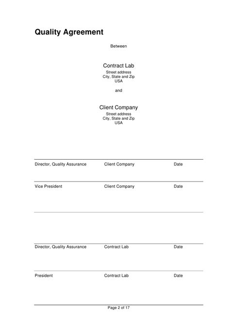 an endpoint configuration section for contract analytical quality agreement template