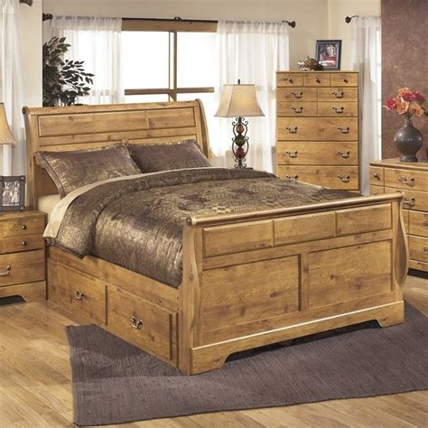 bittersweet bedroom set ashley bittersweet wood queen drawer sleigh bed in light