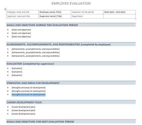 brilliant ideas of free employee performance evaluation form