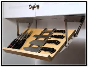 Under cabinet knife storage drop down home design ideas