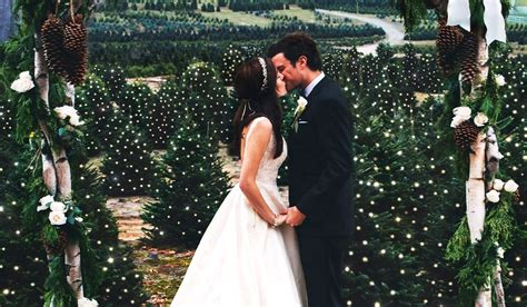 couple has christmas tree farm wedding to honor tradition