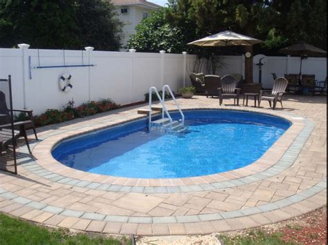 Pool Patios Designs Garden Swimming Pool Modern Patio Bushes Flowers White Fence Semi Inground Pools With