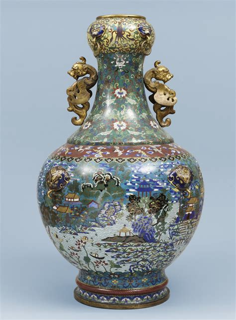 Qing Dynasty Vases by A Cloisonn 233 Enamel Baluster Vase Qing Dynasty