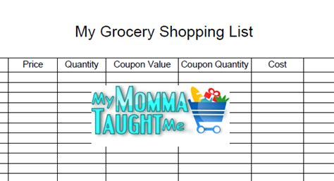 printable shopping list with prices free printable grocery shopping list my momma taught me