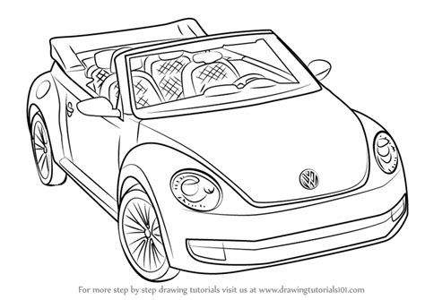 volkswagen bug drawing learn how to draw volkswagen beetle convertible sports