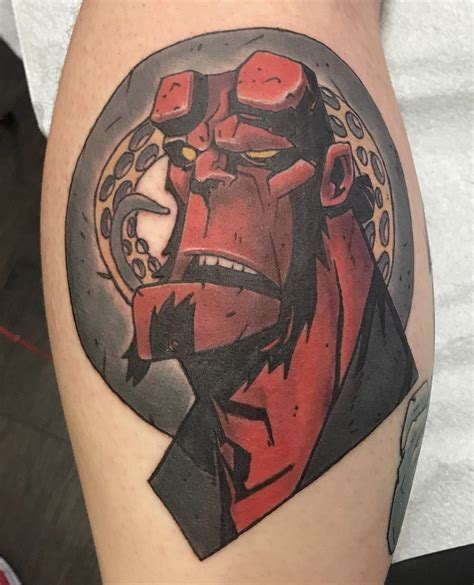 hellboy tattoo hellboy tattooed by squiggy at black gold in tulsa ok