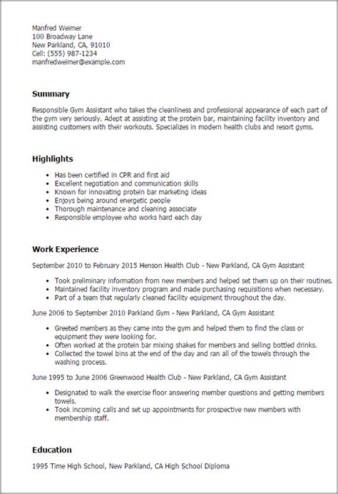 gym assistant resume templates