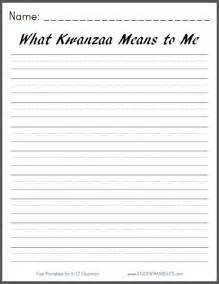 what kwanzaa means to me free printable k 3 writing