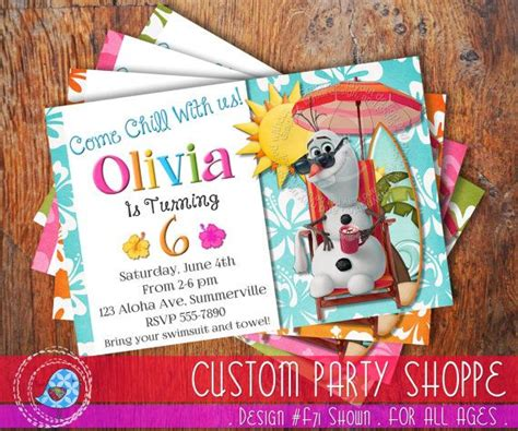 printable olaf invitations summer frozen printable olaf invitation custom frozen
