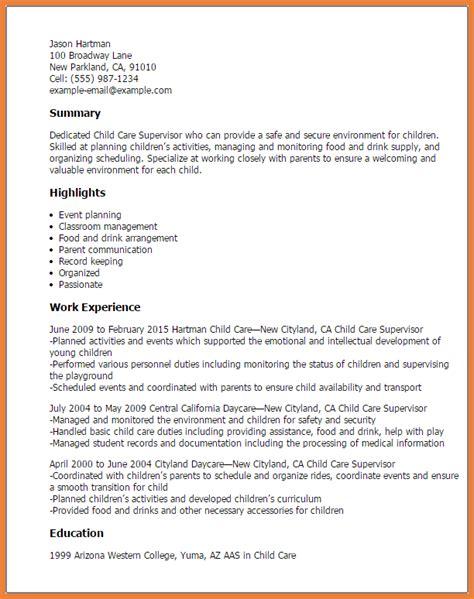 assistant resume sop child care resume sle sop