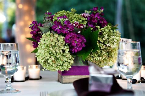 wedding table decorations purple and green purple and green wedding centerpieces 550x366 virginia wedding reception marija mike floral