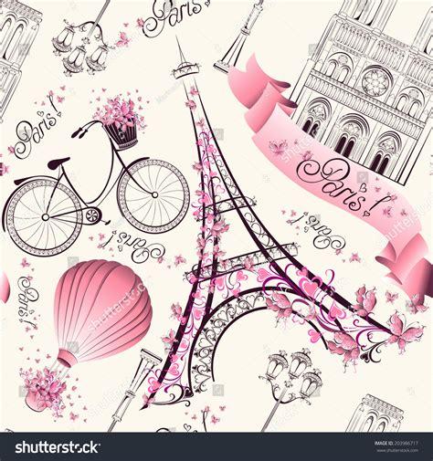 travel pattern in french paris symbols seamless pattern romantic travel stock