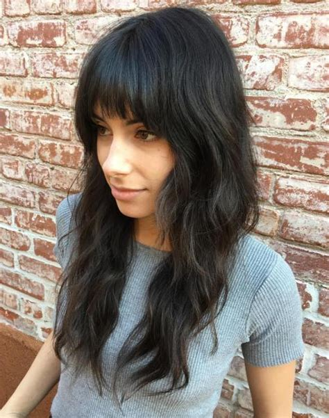 framed bangs wavy hair 50 lovely long shag haircuts for effortless stylish looks