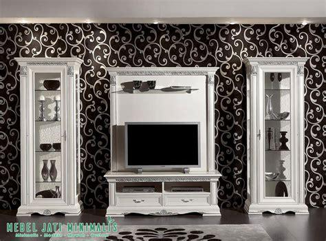 Furniture Lemari Tv bufet lemari tv hias mewah minimalis putih mebel jati