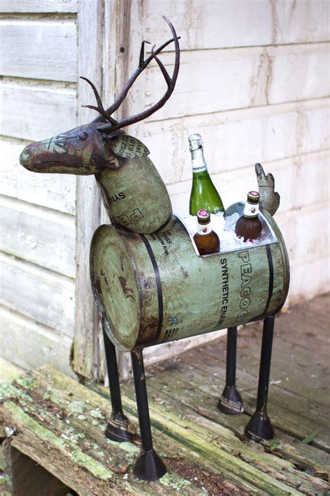 Deer Planter by Reclaimed Metal Barrel Deer Planter Green
