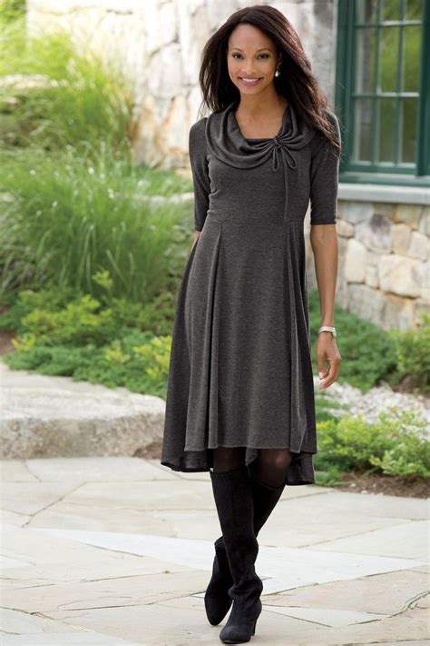 dress with boots grey knit dress with tights and boots my style