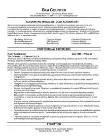 Plant Accountant Sle Resume by Cost Accountant Resume Exle