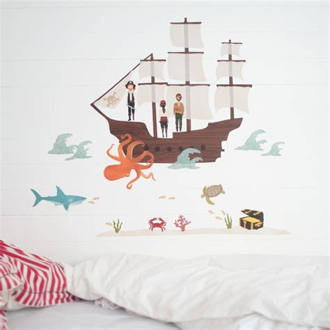 pirate ship wall stickers pirate ship fabric wall decals by mae rosenberryrooms