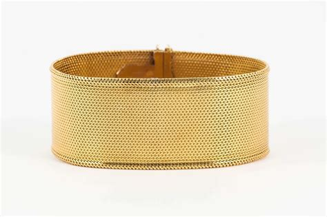 19th Century Wide Woven Gold Bracelet at 1stdibs