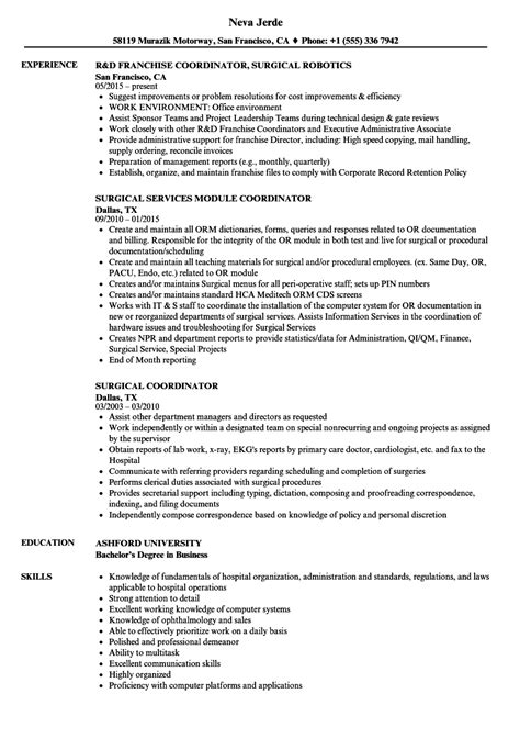 Surgery Assistant Resume by Surgical Coordinator Resume Sles Velvet