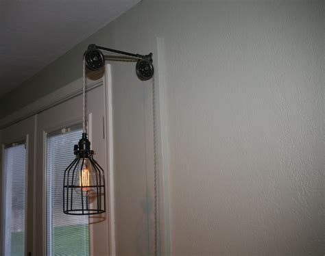 Wall Mount Pendant Light Pulley Wall Mount With Industrial Cage Pendant Light
