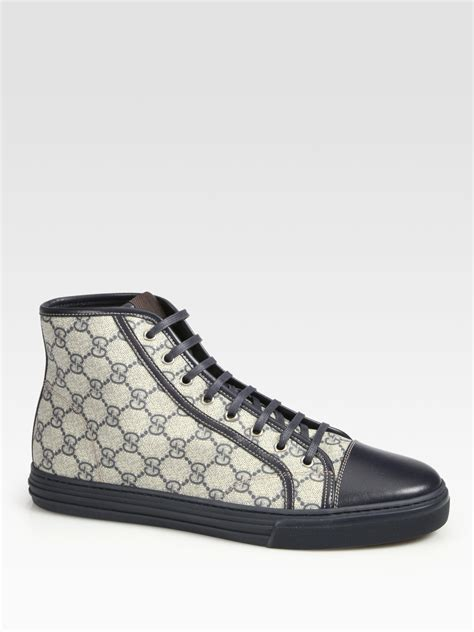 Gucci Sneakers lyst gucci california high top lace up sneakers in blue for