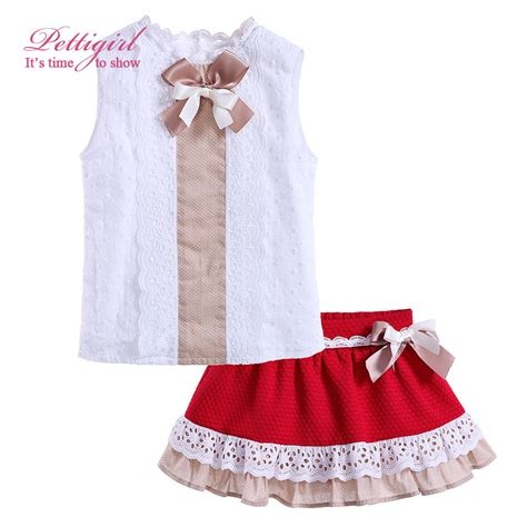 Black Bow Lace Skirt Set pettigirl summer clothes set white top and