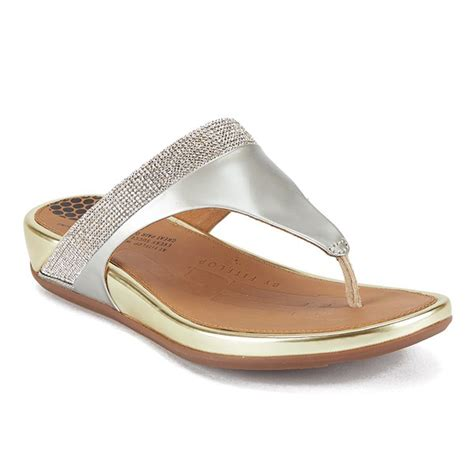 Sandal Wanita Fitflop Banda Flower fitflop s banda micro leather toe post sandals pale gold free uk delivery