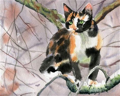 calico cat painting watercolor artist
