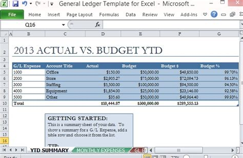 General Ledger Template For Excel General Ledger Template Excel
