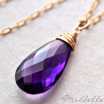 aaa purple amethyst briolette solitaire from msbelle on