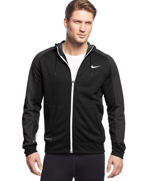 Hoodie Zipper Sweater Nike Logo 04 nike elite stripe zip therma fit hoodie in black for