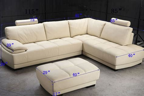 Sofa Bentuk L Beige Leather Sectional Sofa And Ottoman Set Tos Fy679 2