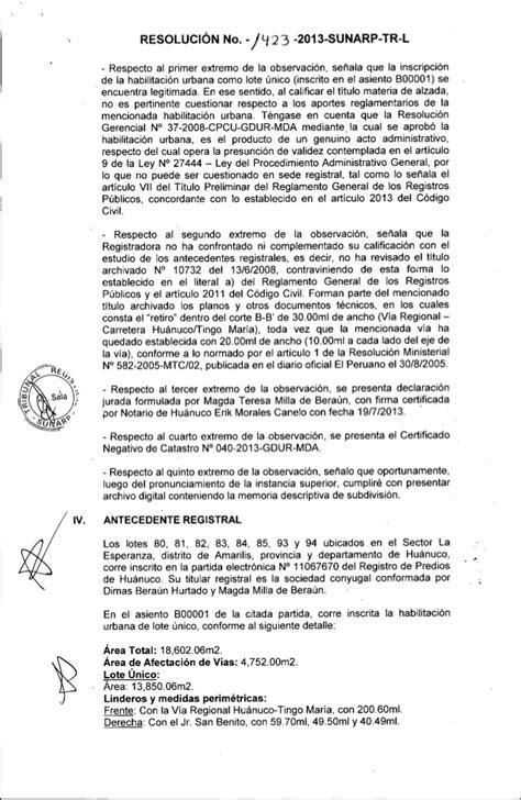 directiva n004 2004 sunarp tribunal registral resoluci 211 n no 1423 2013 independizaci 211 n