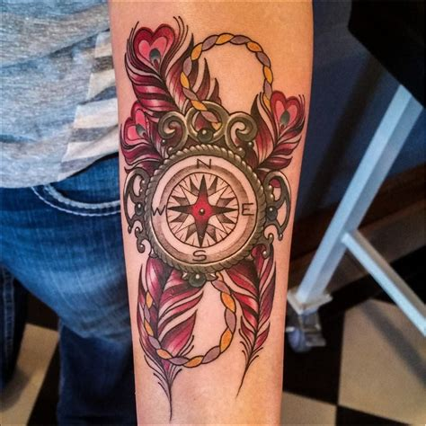 tattoo compass feather compass and feathers tattoo by matt rousseau your flesh