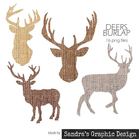 items similar to burlap clipart quot deer silhouet quot with 16