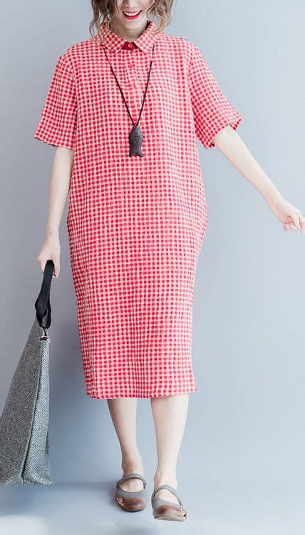 Pink Grid Casual Sweater 21423 612 best images about linen dresses for summer on cotton summer dresses cotton