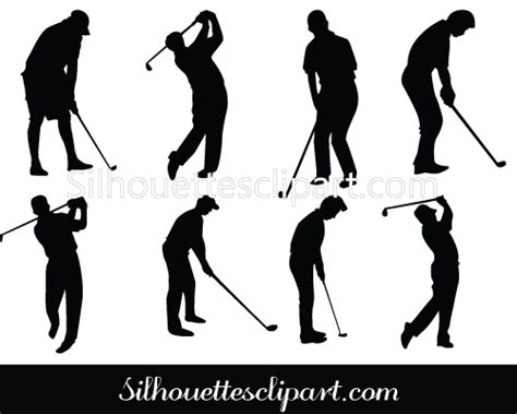 golf swing vector golf silhouette vector golf club swing sports vector